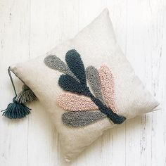 Punch needle embroidery pillow Flower pillow Personalized pillow cover Decorative pillows Handmade embroidered pillow case Gift pillow - Li A - Pillow Embroidery, Simple Embroidery, Embroidery Hoop Art, Machine Embroidery, Embroidery Designs, Embroidered Pillows, Embroidery Stitches, Embroidery Tattoo, Flower Embroidery