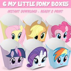 6 Popcorn Box My Little Pony - popcorn box My Little Pony - Instant Download (You can purchase)