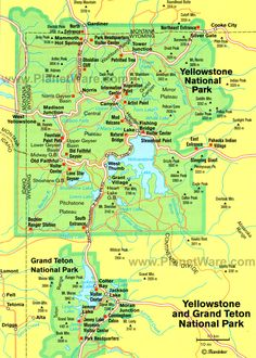 yellowstone national park | Some attractions within Map of Yellowstone National Park Map:
