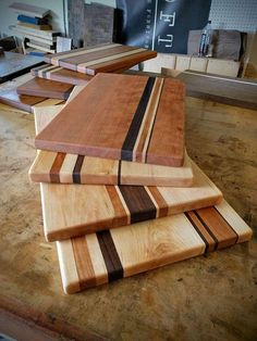Each board is unique and one of a kind. The Cherry wood shows its beautiful grain and with maple and walnut accents make any contorted top pop. These boards are sure to bring a sweet touch to every eye in your kitchen. The pictured board is 1 1/4 inches thick, 12 x 18 but can be made to fit