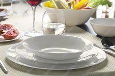 Servizio 8 piatti in vetro opale. Modello White Moon - Bormioli Rocco