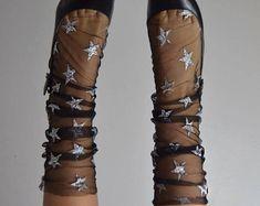 Starry Silver Tulle Socks