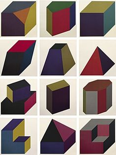 """Sol LeWitt (Hartford Connecticut 1928 - 2007 New York) """"Forms derived from a cube"""" Folge von 12 Farbsiebdrucken 1991 84,5 x 84,5 cm x 3 cm"""