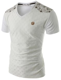 Doublju Men's Embossed Pattern V-neck T-Shirt (CMTTS01) #doublju