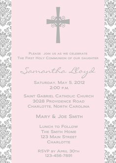 First Holy Communion Invitation -- religious invitation. $10.00, via Etsy.