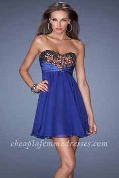Short Strapless Beaded Bust La Femme 19446 Homecoming Dresses Indigo