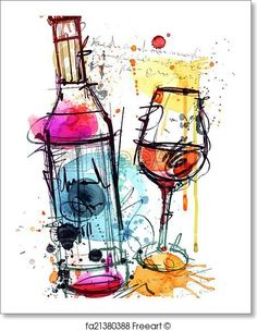Red Wine Water Color - Artwork - Art Print from FreeArt.com