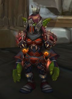 Red and grey leather xmog. Rogue only pvp helm. Still a little iff-y on the gloves and shoes but the colors of helm and shoulders mesh nicely.