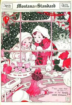 Artist,Ethel Hays...Antique Christmas children's book illustration. (Children Looking into a Christmas Store Window...and Wishing!)