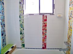 mosaic bathroom - white 4x4 tile with stripes of mosaic color - artist natalie baca