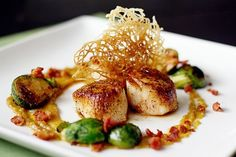 Seared Sea Scallops with Golden Raisin Puree and Bacon Braised Brussels Sprouts | Tasty Kitchen: A Happy Recipe Community!