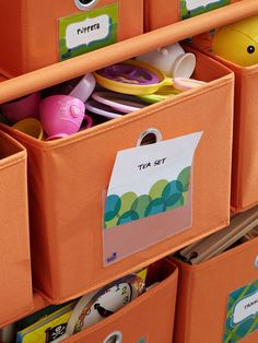 Free printable labels/tags that can slide into Nackit plastic pockets that you attach to storage bins. The printables come in 3 sizes. BHG