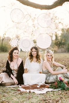 bridesmaids, girlfriends, boho, boho hair, hair, bohemian weddings