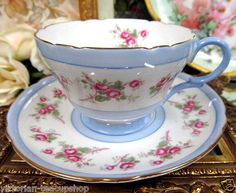 Shelley Tea Cup and Saucer Blue Bands Pink Roses Teacup !!!!!