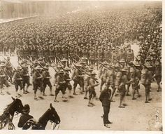 World War I -- Doughboys parading in the streets of London, 1918. My Grama Huffaker told me about them.