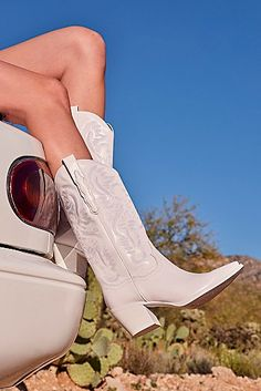 Dagget Western Boots by Jeffrey Campbell at Free People, White, US 8 White Boots, White Cowgirl Boots, Cowboy Boots Women, Wedding Cowgirl Boots, Boots For Women, Cowgirl Tuff, Cowgirl Bling, Cowgirl Style, Western Style