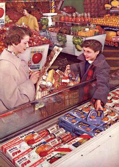 Shopping for frozen foods, 1955. #vintage #1950s #supermarket