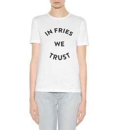 Printed white cotton T-shirt