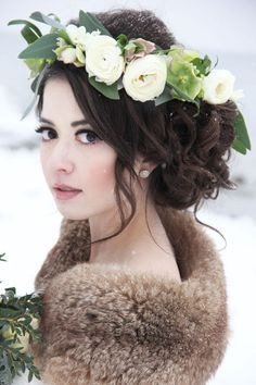 Classy curly updo wedding hairstyle with pretty white flower crown; Featured Photographer: Hope Kauffman Photography