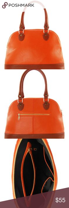 "Erica Anenberg Lola Bernard Genoa Satchel Color TANGERINE-CAMEL Dual top rolled handles - Top zip closure - Two-tone construction with 22K gold plated hardware - Exterior features back zip pocket - Interior features wall zip pocket and 2 media pockets - Approx. 10"" H x 14"" W x 5"" D - Approx. 7"" handle drop Materials Cowhide leather exterior, cotton lining Note: There is slight discoloration on the back of the bag reference last 2 pics Lola Bernard Bags Satchels"