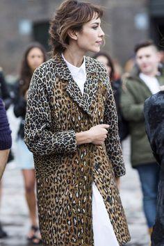 Alexa Chung in a chic leopard coat