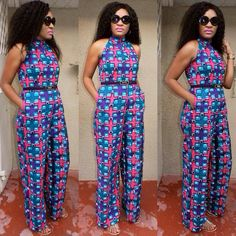 African print jumpsuit designed by Kiki Zimba ~ African fashion, Ankara, kitenge, Kente, African prints, Braids, Asoebi, Gele, Nigerian wedding, Ghanaian fashion, African wedding ~DKK