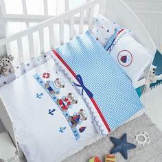 Luoca Patisca Bebek Nevresim Takımı Sailor Knitted Baby Clothes, Knitted Baby Blankets, Baby Blanket Crochet, Quilt Baby, Knitting Kits, Baby Knitting, Handmade Kids Bags, Crochet Table Runner Pattern, Baby Sheets