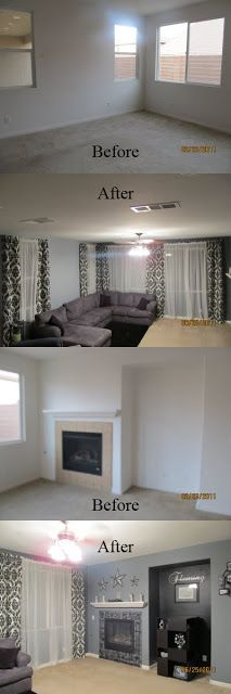 Decorating Ideas and Tutorials on DIY Mamas - {Family Room} - LOVE the Black & White Damask!!