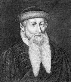 Gutenberg: german printer, developed a method of printing using blocks of movable type set on a mechanical press