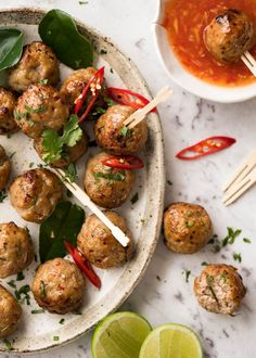 These Thai Meatballs are loaded with beautiful fresh Thai flavours! Make them with pork or chicken, pass them around at a party or have them for dinner!
