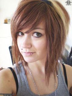 sideswept bangs and medium length