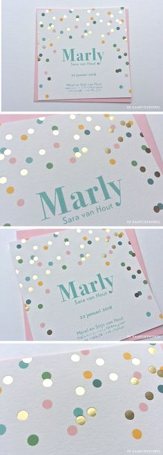 Birth announcement card print color and gold foil confetti Marly Birth Announcement Girl, Announcement Cards, Christian Baby Girl Names, Confetti Cards, Baby Kind, Baby Baby, Blog Love, Baby Cards, Baby Pictures