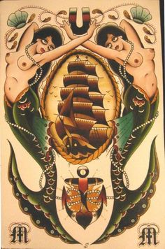 I like the way these mermaids frame the ship, possibly a good idea for the mermaid I want to add on my back next to my rib piece.
