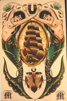 tattoo ideas, traditional tattoos, tall ships, tattoo flash, mermaid tattoos