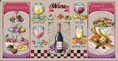 Wine and desserts modern cross stitch pattern and kit, sodastitch, dessert motifs, cake motifs, wine, dinning room decor pattern