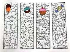 Sweets Bookmarks – PDF Zentangle Coloring Page – Scribble & Stitch