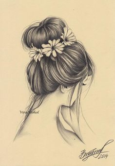 New Flowers In Hair Drawing 19 Ideas Pencil Drawings Of Flowers, Pencil Drawings Of Girls, Girl Drawing Sketches, Flower Sketches, Girly Drawings, Art Drawings Sketches Simple, Drawing Flowers, Drawings Of Hair, Drawing Hair