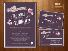 Vintage Floral Wedding Invitation RSVP by LittlePinkBowDesigns