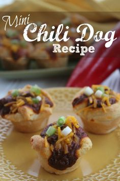 Check out this Mini Chili Dog Recipe! These are super cute and perfect for any party if you are looking for bite sized treats to share for an appetizer!