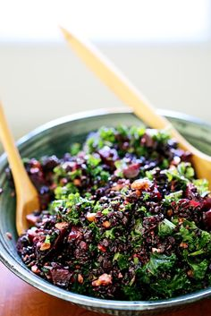 Black Rice, Beet & Kale Salad with Cider Flax Dressing  (make the night before)