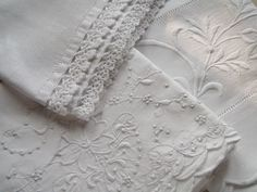 Hemstitching and crochet lace trim (hand towel), whitework (pillowcases) ~~ Cabin & Cottage : Just Linen