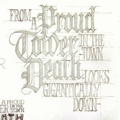 Unused sketch from '08 for @sixpackfrance. From Edgar Allen Poe's The City in the Sea. #lettering #sketch