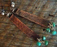 Turquoise and Copper Stamped Stick Earrings