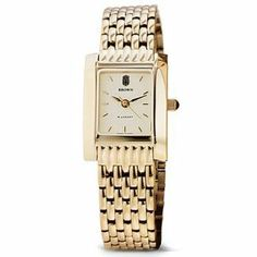 """Brown University Women's Swiss Watch - Gold Quad Watch with Bracelet by M.La by M.LaHart & Co.. $379.00. Classic American style by M.LaHart. Attractive M.LaHart & Co. gift box.. Three-year warranty.. Swiss-made quartz movement with 7 jewels.. Officially licensed by Brown University. Brown University women's gold watch featuring Brown seal at 12 o'clock and """"Brown"""" inscribed below on cream dial. Swiss-made quartz movement with 7 jewels. Cream dial with hand-applied faceted mark..."""
