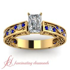 Shank Wave Ring|| Emerald Cut Diamond Side Stone Ring With Blue Sapphire In 14K Yellow Gold