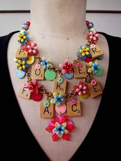Poker Face  Vintage Scrabble Necklace Flower by rebecca3030, $135.00