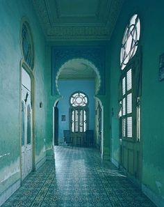 My physical yearning to visit Cuba is immeasurable. The colors, the decay, the architecture. But, it is the Cuba in its current time capsule. Emerald City, Emerald Green, Emerald Colour, Magic Places, Vert Turquoise, Turquoise Walls, Green Interior Design, Modern Interior, Green Rooms