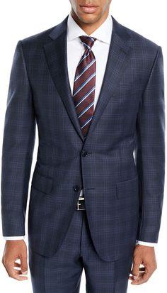 362752be3ae40 Ermenegildo Zegna Men's Trofeo Wool Plaid Two-Piece Suit Mens Sport Coat,  Tailored Suits