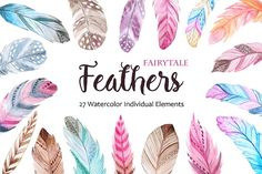 Watercolor Fairytale Feathers Set by LarysaZabrotskaya on @creativemarket