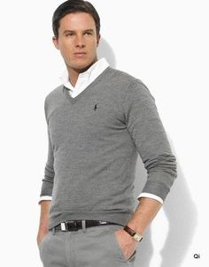 #Men #man #fashion #style #clothes #clothing #gray #pants #sweater
